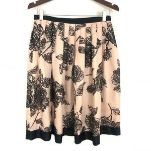Mint Collection Silk Pink Floral Skirt Size 6